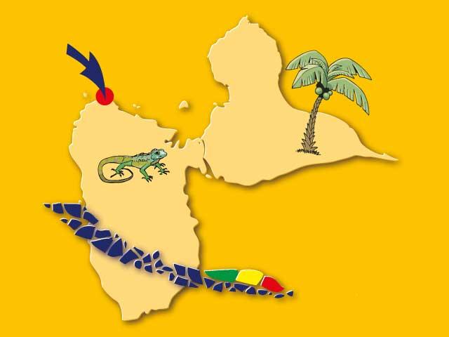 Mini-carte Guadeloupe Gîtes Mosaïques
